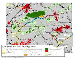 Existing Rail Systems in the Southern Appalachians - WaysSouth.org
